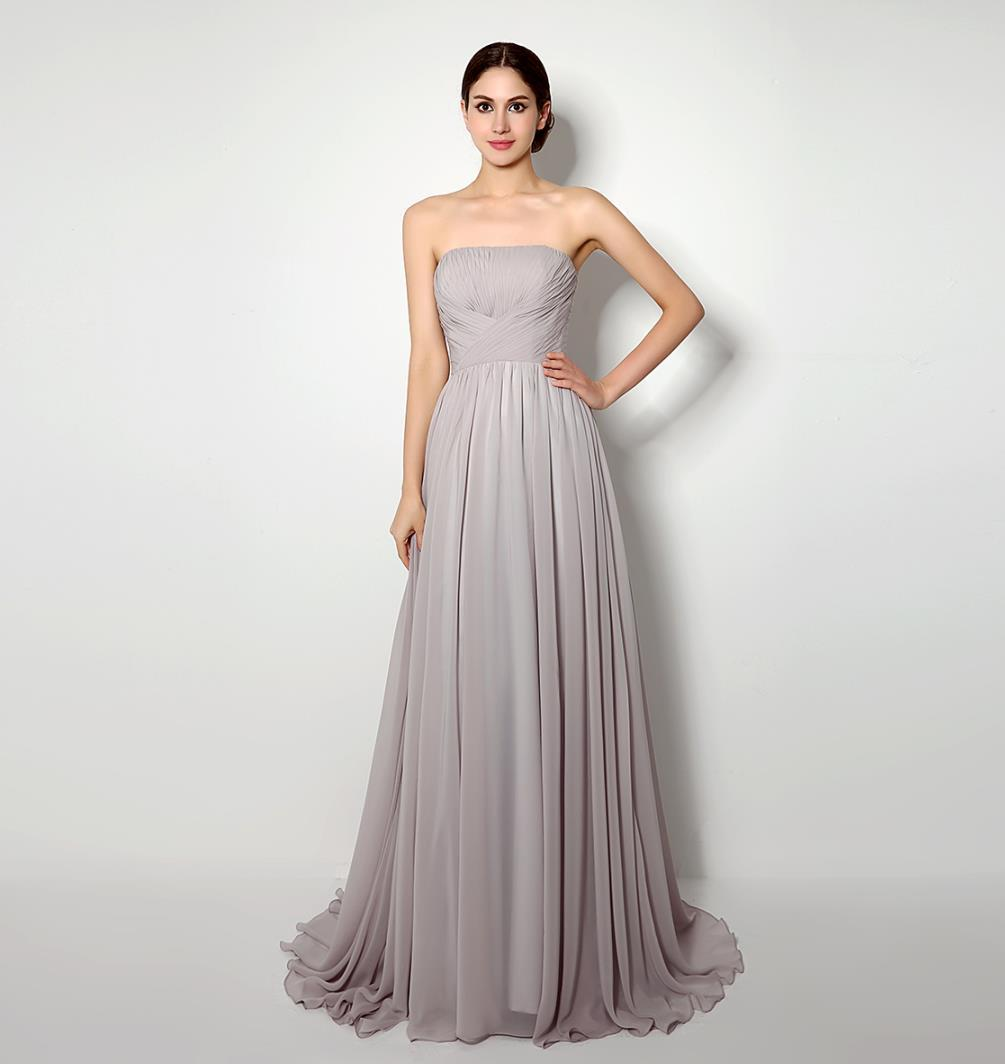 Grey Bridesmaids Dresses Long Floor Strapless Pleats Chiffon Cheap ...