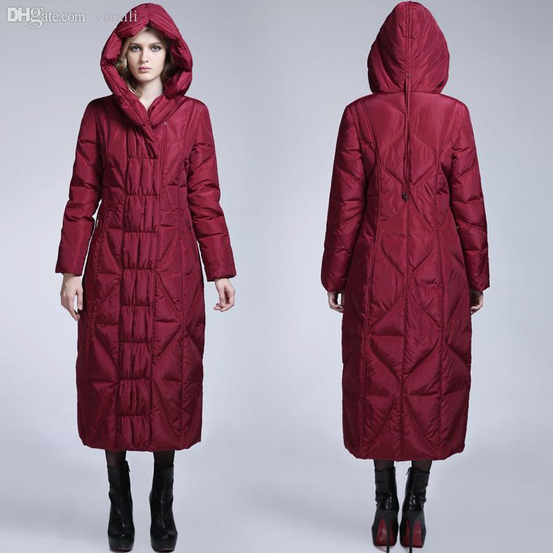 Wholesale-Long Maxi Down Puffer Coat Women Down Parkas Hooded ...