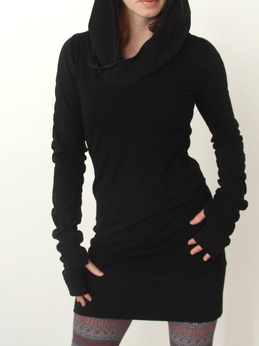 Autumn Winter HOODED Sweater Dress Long Sleeve Pockets Womens ...