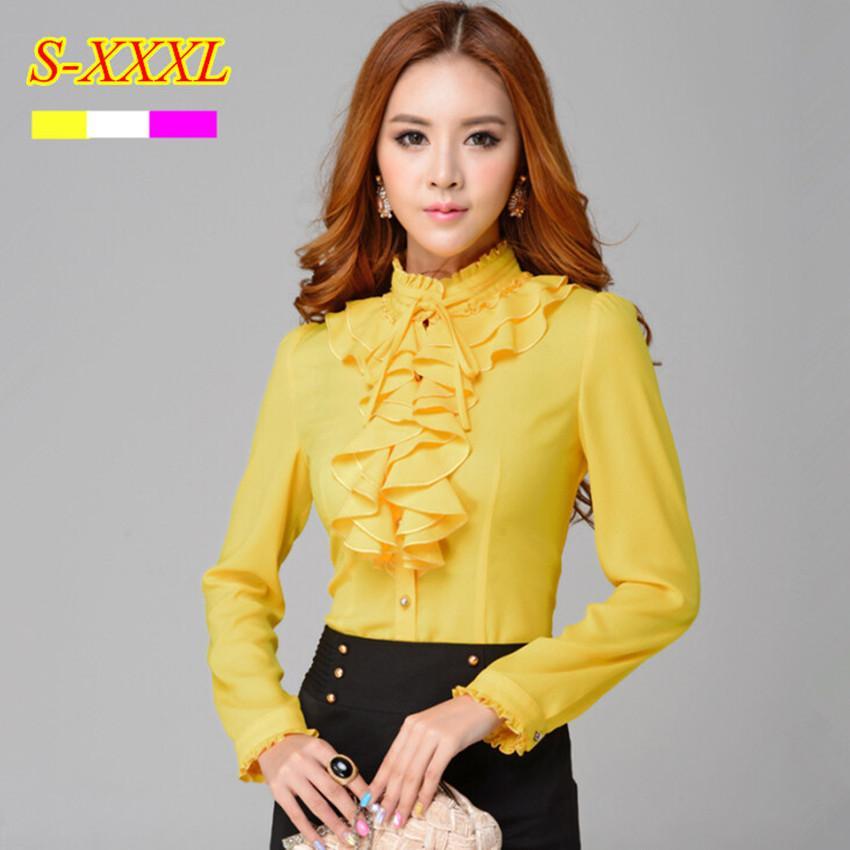 Discount Fashion Stand Collar Long Sleeve Yellow Female Shirt Ol ...