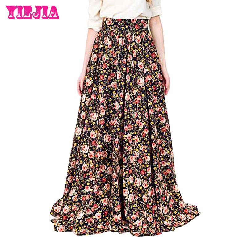 Best New Autumn Women Long Maxi Floral Print Flowers Long Skirts ...