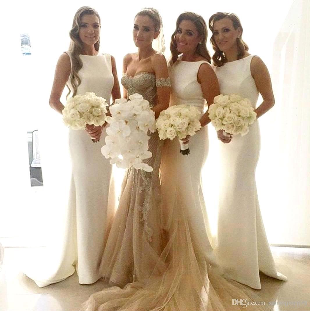 2016 bateau mermaid long bridesmaid dresses pick up sweep for Simple cream colored wedding dresses