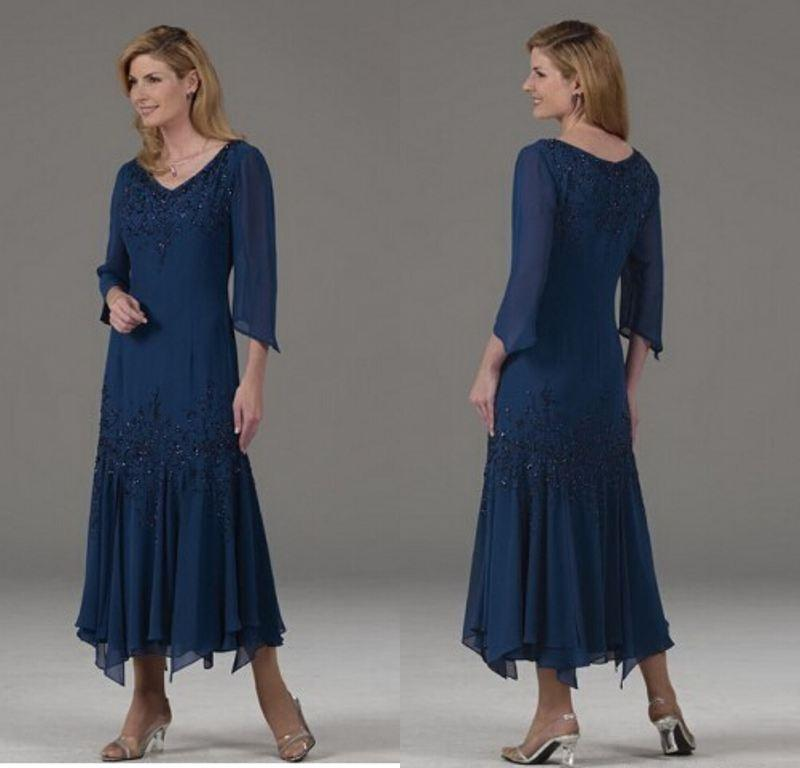 Hot Sale Navy Blue Mother Of The Bride Dresses Long Sleeves ...
