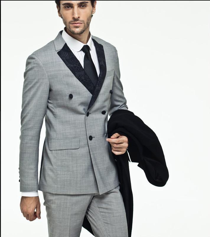 2016 Side Vent Light Grey Suit Groom Tuxedos Slim Fit Double Breasted Groomsmen Men Wedding
