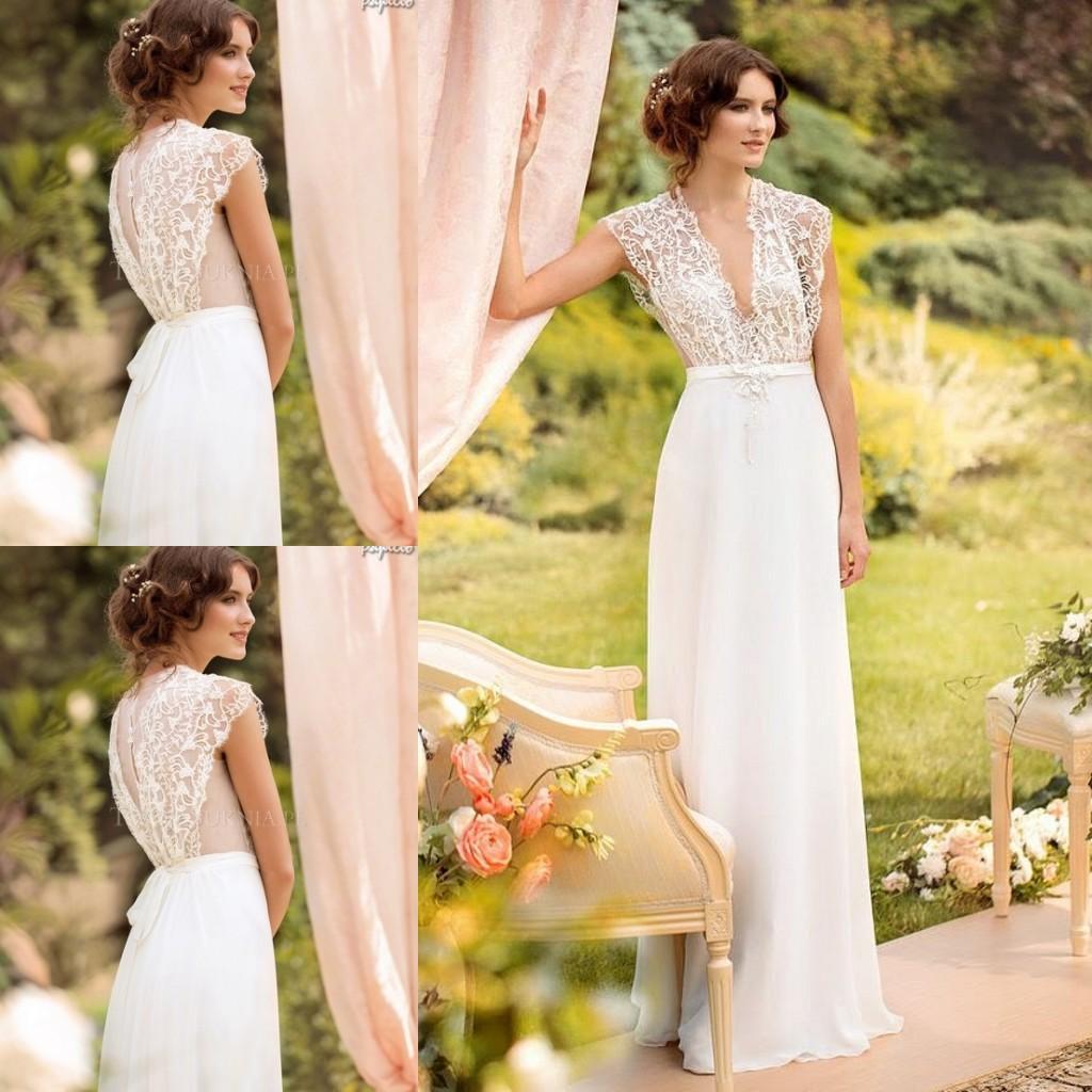 Yellow Cap Sleeve Wedding Dresses