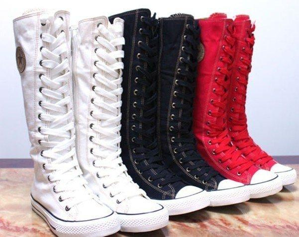 Red Black White Fine Black Canvas Boots Women Girls Sale Cheap ...