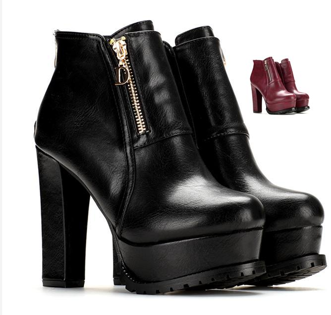 Chic Burgundy Platform Shoes Thick Heel Knight Boots Ankle Boots ...