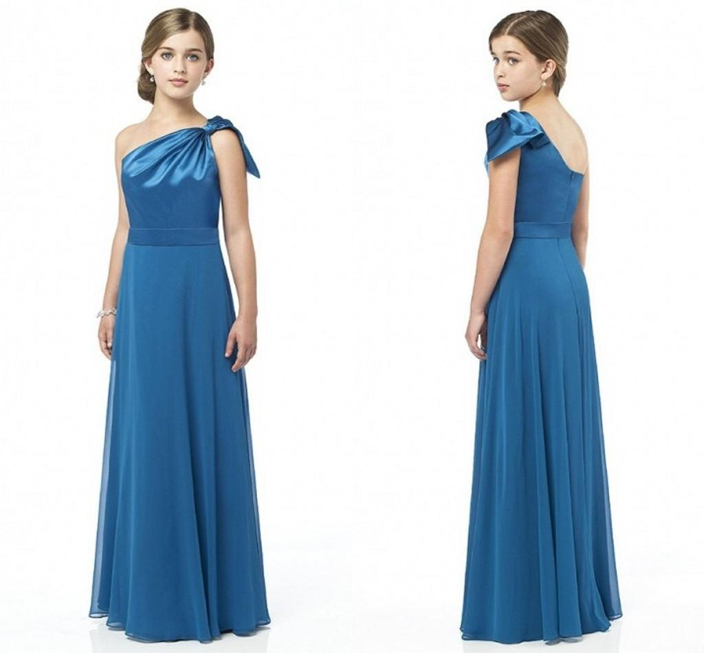 One shoulder junior bridesmaid dresses sheath backless for Wedding guest dresses juniors