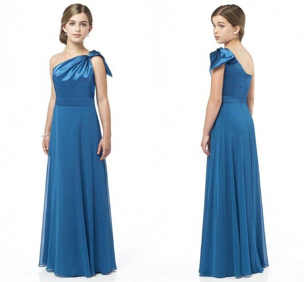 One shoulder junior bridesmaid dresses sheath backless for Junior wedding guest dresses for summer