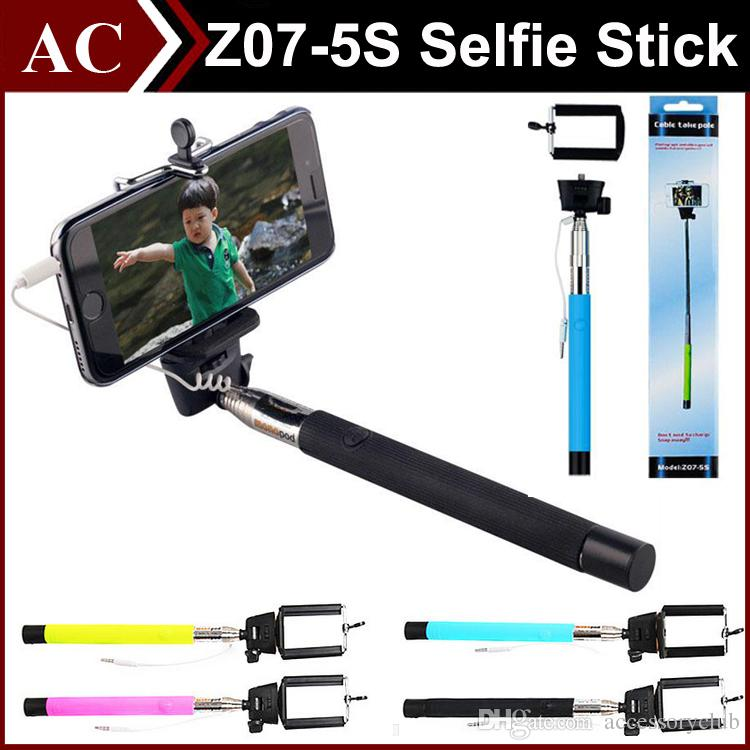 online cheap portable selfie stick z07 5s audio extendable handheld monopod plug play cable. Black Bedroom Furniture Sets. Home Design Ideas