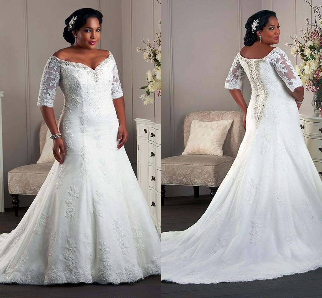 Plus Size Mermaid Wedding Dresses Sweetheart Neck 1 2 Long