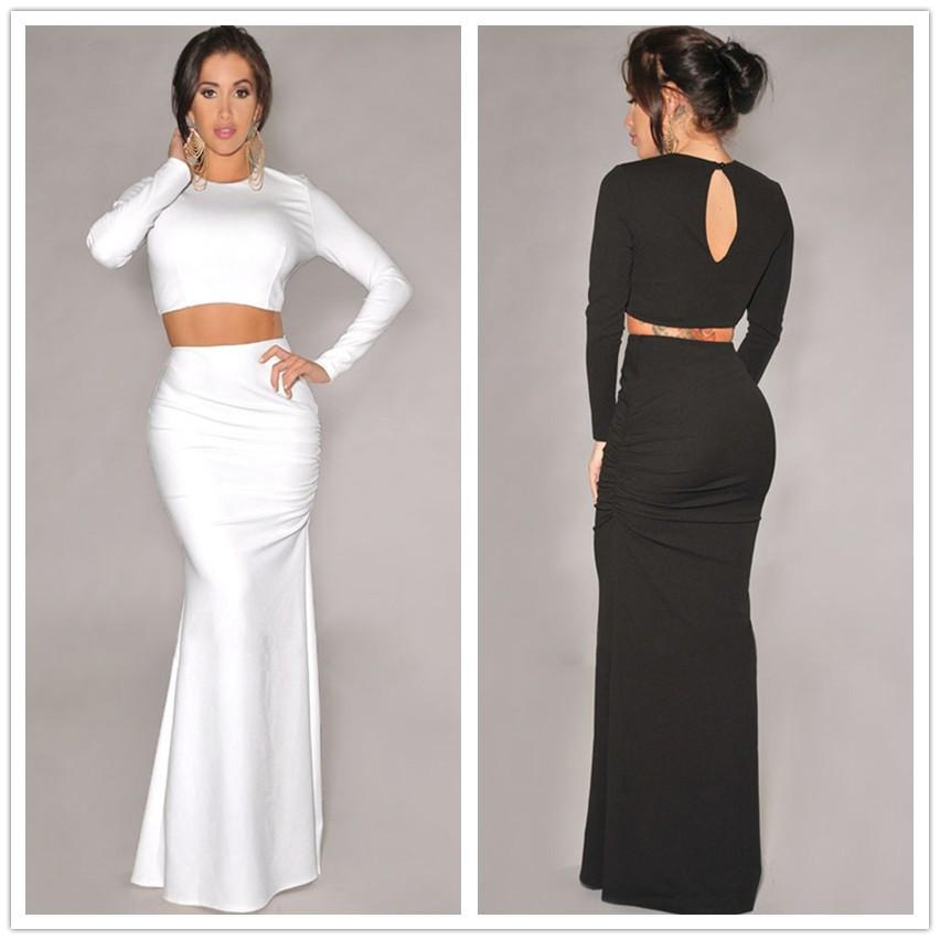 Sexy Bodycon Maxi Dresses For Womens Round Neckline Crop Tops ...