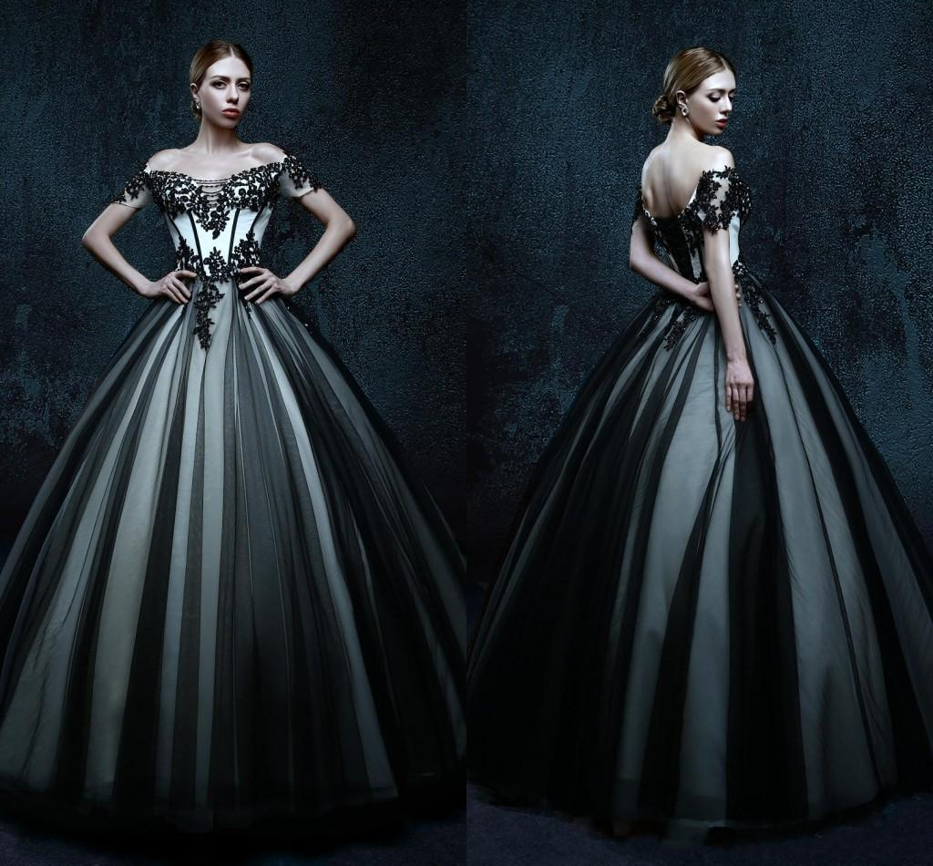 2016 Black And White Wedding Dresses With Short Sleeve