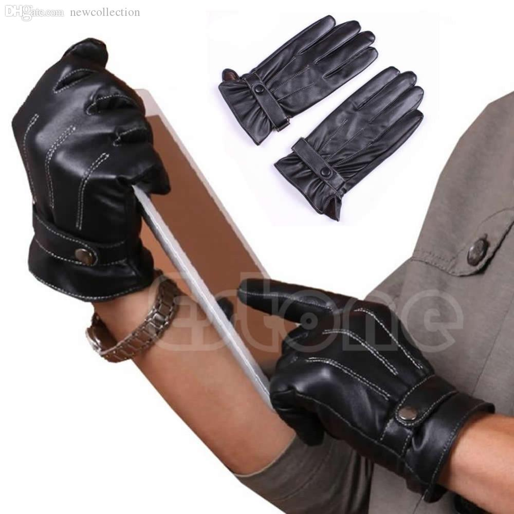 Driving gloves wholesale - Online Cheap Wholesale Hot Men 3 Lines Winter Warm Driving Gloves Faux Leather Lined Touch Screen Gloves By Hiem Dhgate Com
