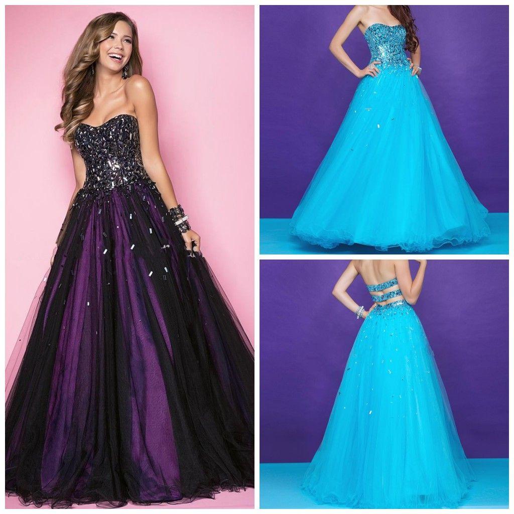 Blush Prom Dresses Black Purple Strapless Sequin Floor