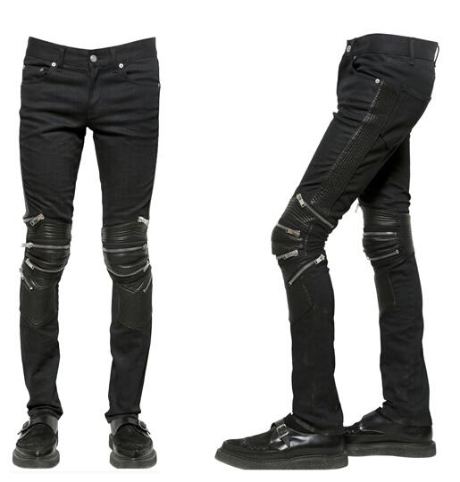 Men Black Leather And Denim Zip-Detail Biker Jeans Fall Winter ...