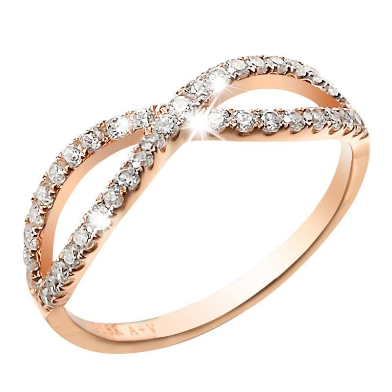 18K Rose Gold Rings Women Gold Rose Gold Engagement Ring Row Diamond Ring Wed