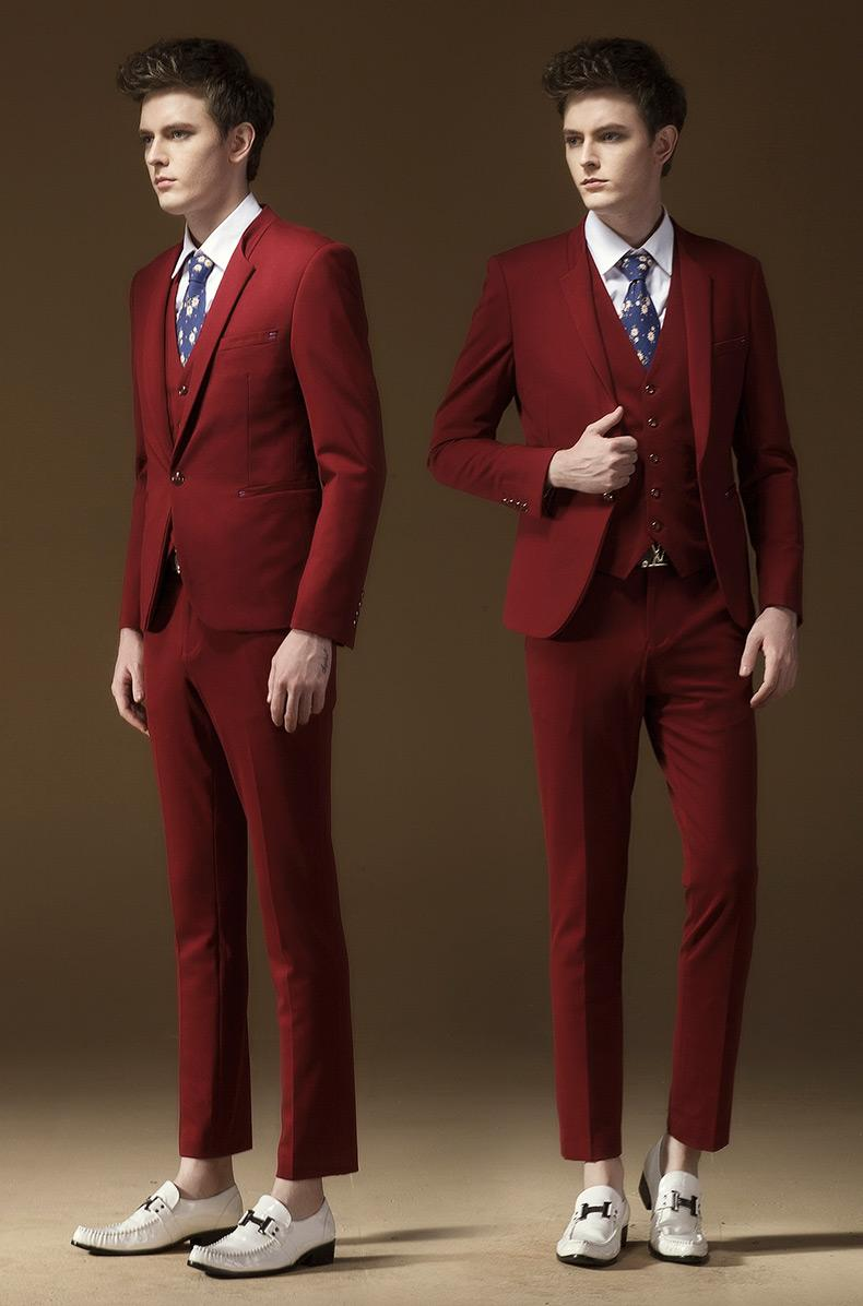 2015 Newest Design Wine Red Men Wedding Suits Bridegroom Three