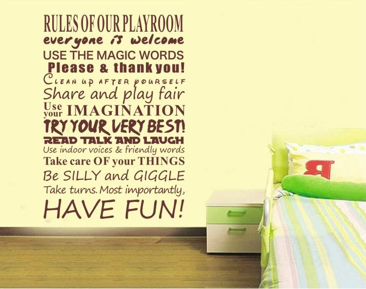 Playroom Rules Wall Sticker Kids Bedroom Vinyl Wall Quote Decals - Vinyl wall decals kids