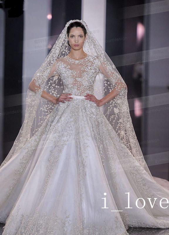 High End Custom Made Elie Saab Wedding Dresses Wedding Gowns Long Sleeve Cathedral White Ivory
