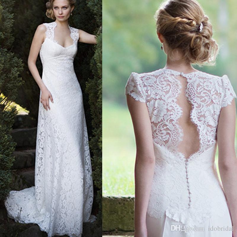 Discount Vintage Lace Beach Wedding Dresses Bridal Gowns 2016 Keyhole Back Bohemia Wedding Gown