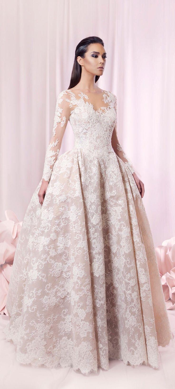 Blush colored tarek sinno haute couture bridal dresses for Blush wedding dress for sale