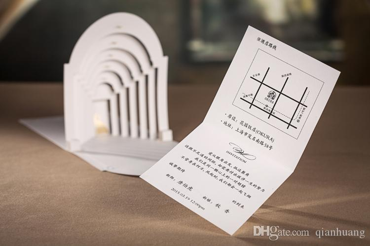 d white bride and groom love in the castle two fold wedding, 3d invitation card designs, 3d invitation card template