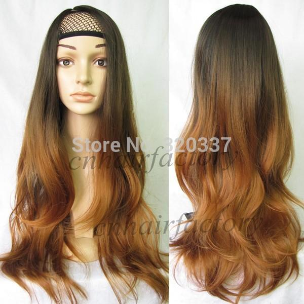 Super Fashion Ombre Wig Long Wavy Two Tone Ombre Hair Gradient Dip Dye Short Hairstyles For Black Women Fulllsitofus