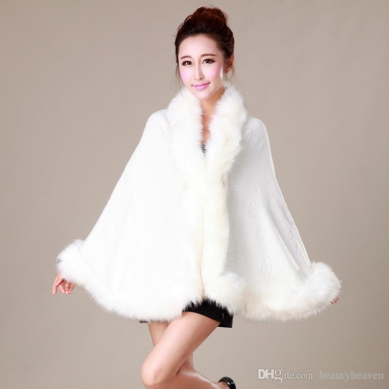 Best Nice Gift Rabbit Fur Hand Knitting Poncho Cape Shawl White Black Wedding Cloaks Faux Fur