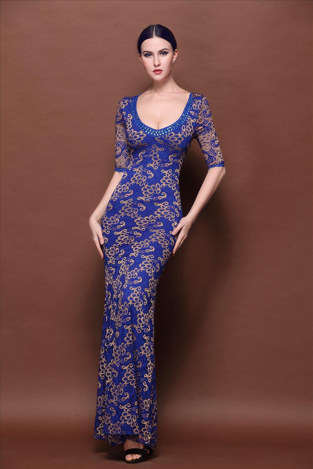 2015 Chinese Vintage Style Lace Designer Evening Gowns V Neck Half ...
