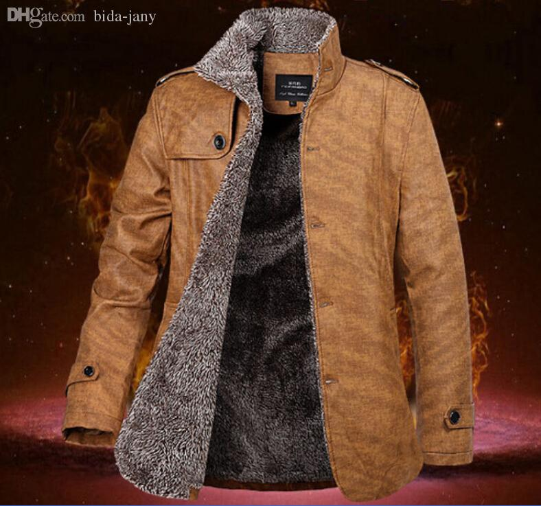 Fall-2016 Hot Sale Mens Faux Leather Jacket Fur Lining Warm ...