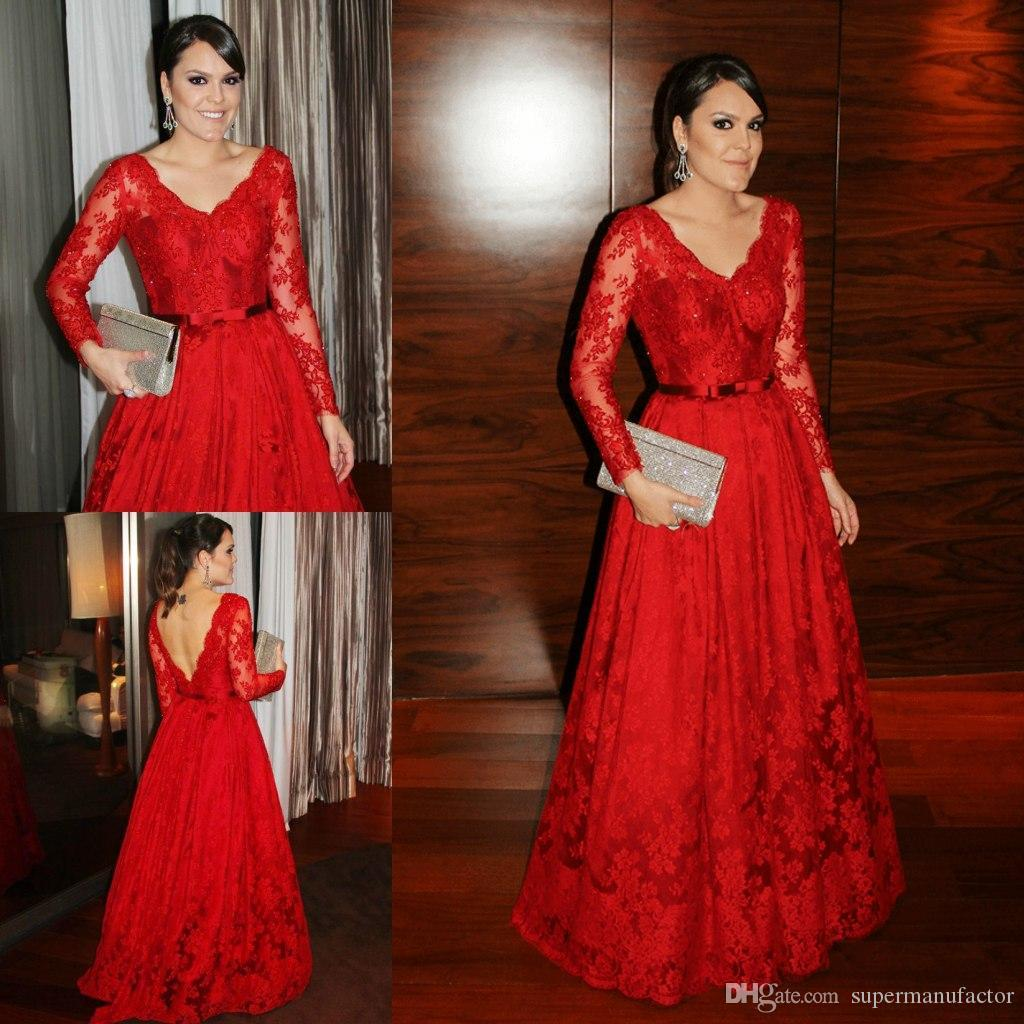 2015 Red Lace Prom Dresses Long Sleeve Floor Length V Neck Evening ...
