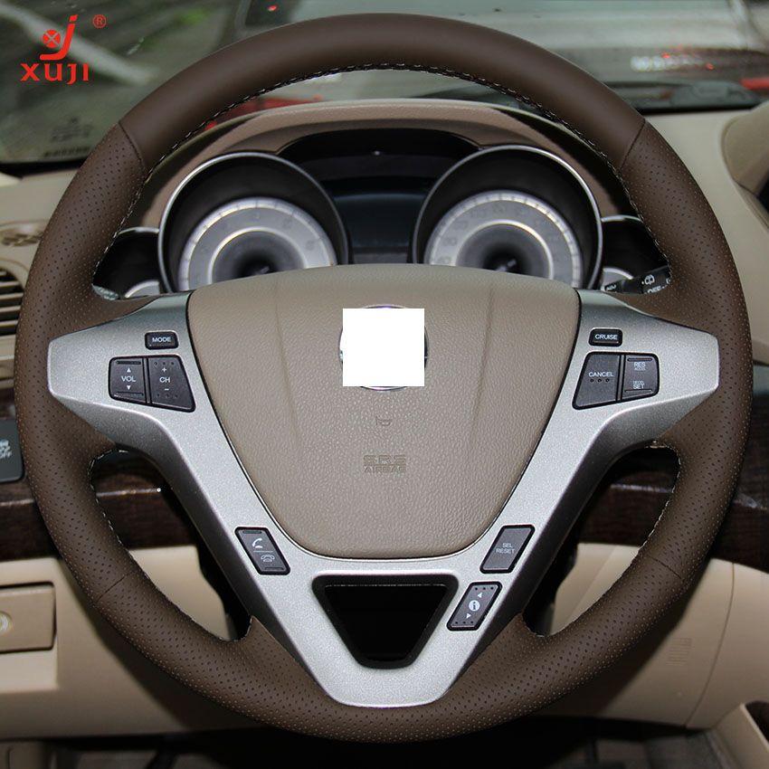 Xuji Dark Brown Genuine Leather Steering Wheel Cover For
