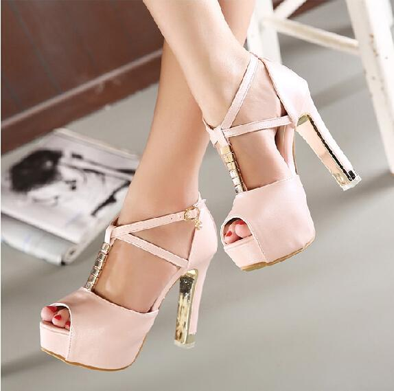 Korean Fashion Sexy Cross Strap Chunky Heel Rhinestone Wedding ...