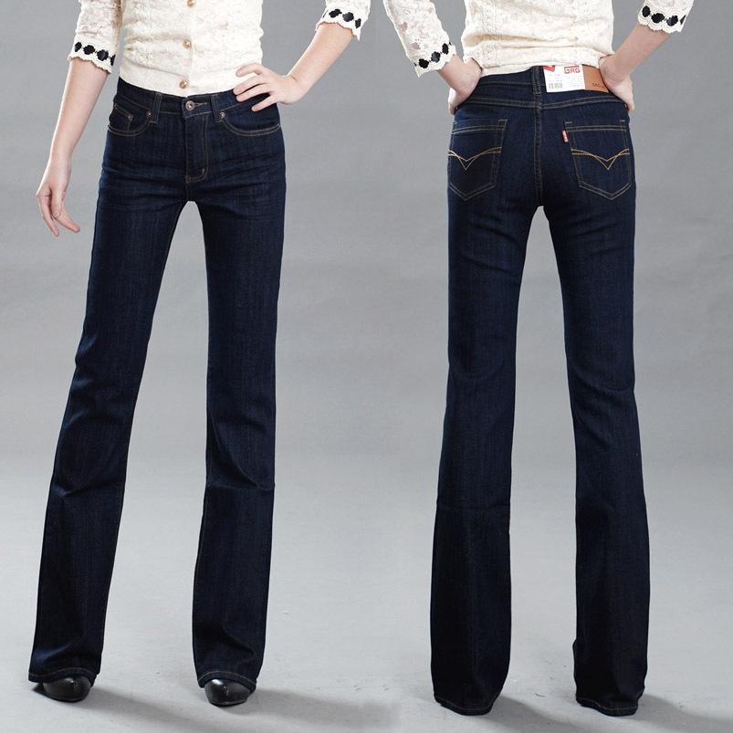 High Quality 2015 New Women's Slim Mid Waist Boot Cut Jeans ...