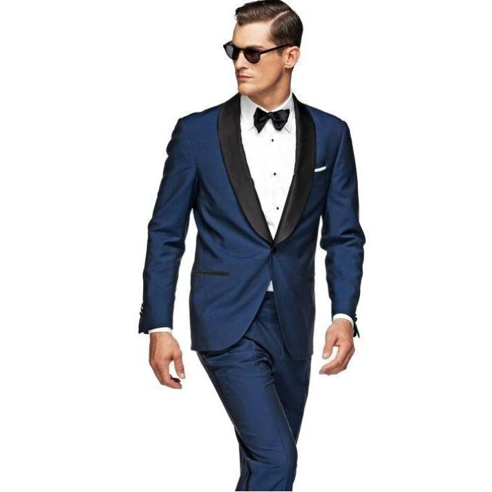 Black Blue One Button Wedding Suits For Mens 2016 The Best Man Suits For Groomsman Suits ...