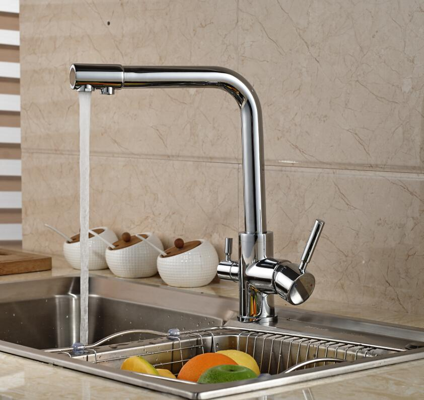 luxury chrome brass kitchen faucet pure water spout tap single hole vessel sink mixer tap