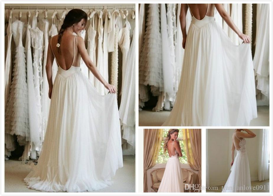 Wholesale 2014 Boho Lace Appliques Beach Wedding Dresses Spaghetti Straps Backless A Line Chapel
