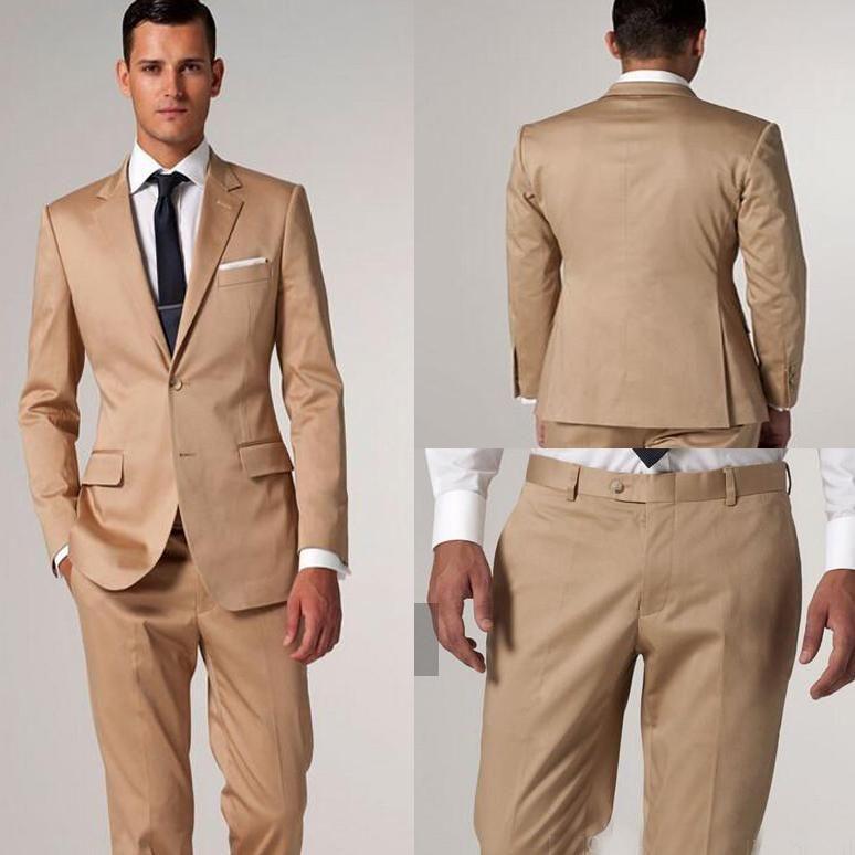 Gold 2015 Groom Tuxedos Fall Suit Beach Groomsman Men Suits Best Man Suit Formal Gown Wedding