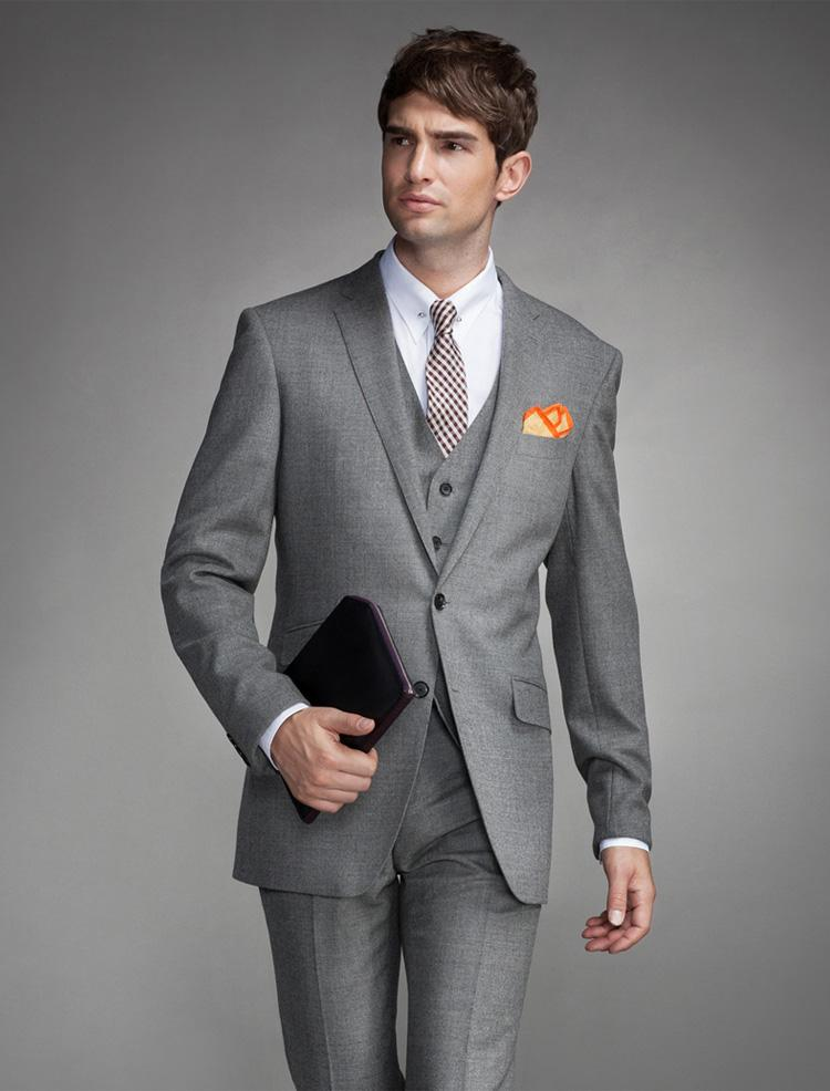 Latest Men's Light Gray Three-piece Suit Suit Fashion Slim Men's ...