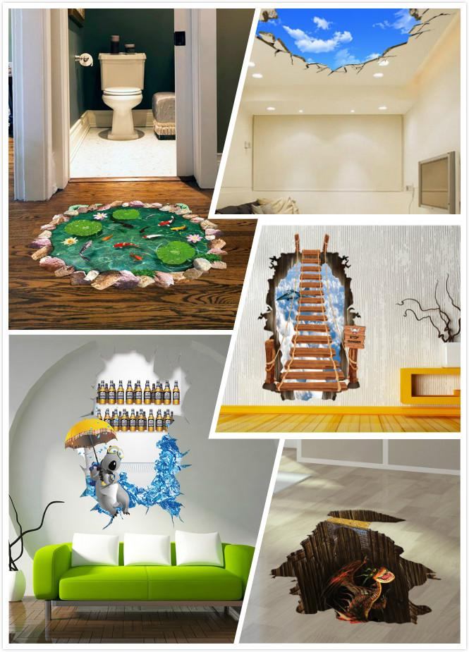 Cartoon 3d Wall Paper Removable Wall Sticker Pvc Wall Decorate Home D Cor Baby Kids Art Home