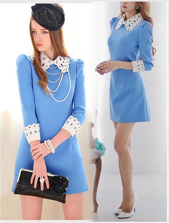 Blue dress with white collar for girls