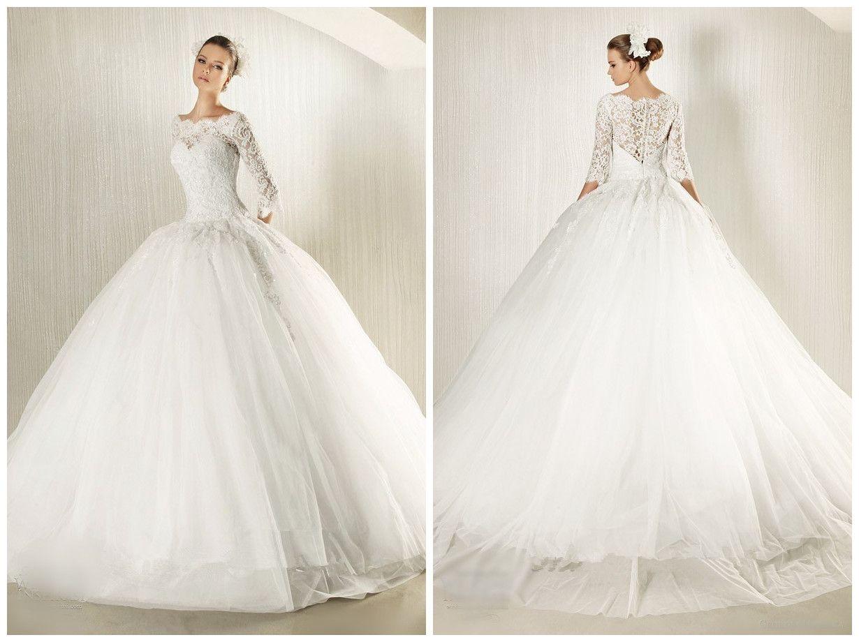 2015 Lace White Wedding Dresses Scoop Sheer Long Sleeves