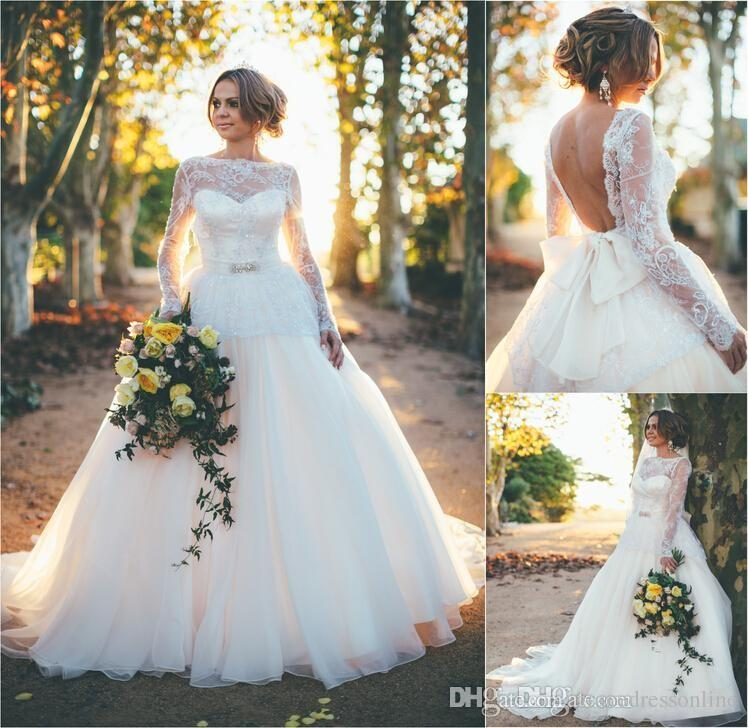 2015 Vintage Backless Ball Gown Wedding Dresses Sheer Bateau Neck ...