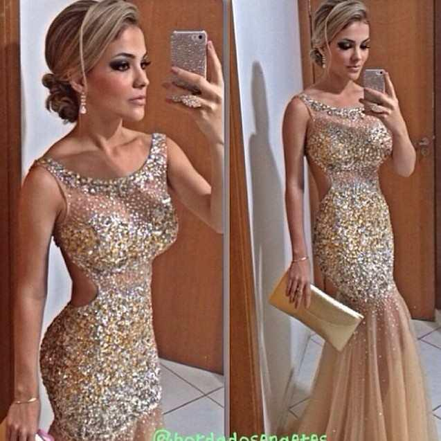 Bling Gold Mermaid Evening Dresses Sheer Neck Crystal Beaded Tulle ...
