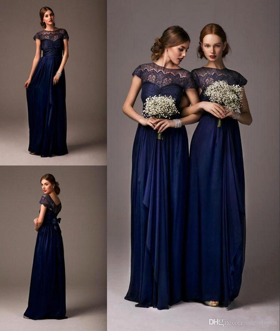 Cheap Long Navy Blue Bridesmaid Dresses Sheer Lace Cap Sleeves ...