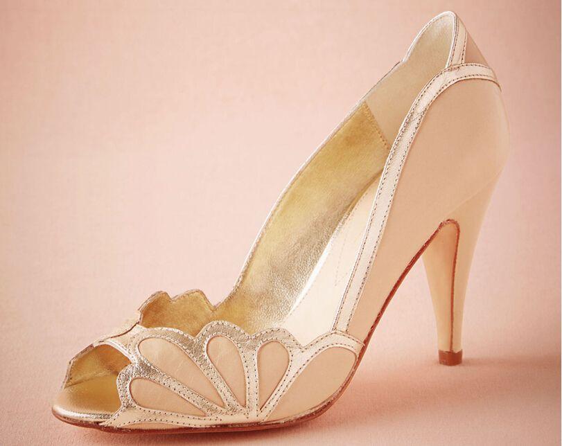 Blush Women Wedding Shoes 2016 Vintage Bridal Isabella Scalloped Heel Pu Peep Toe Custom Made