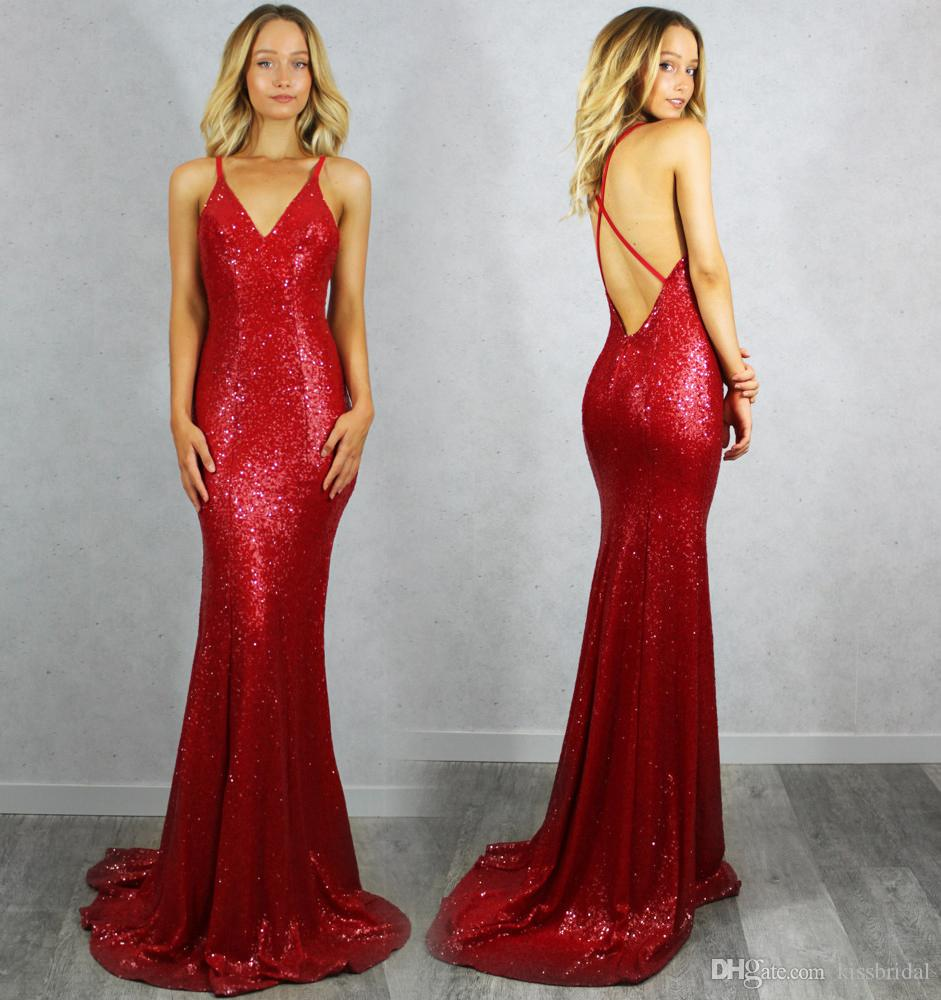 Chic 2016 Red Mermaid Prom Dresses V Neck Criss Cross Straps ...