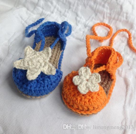 Пентаграмма шерсти вязание крючком детские сандалии. 100% вуаль новорожденных мягкое дно малыша босиком сандалии
