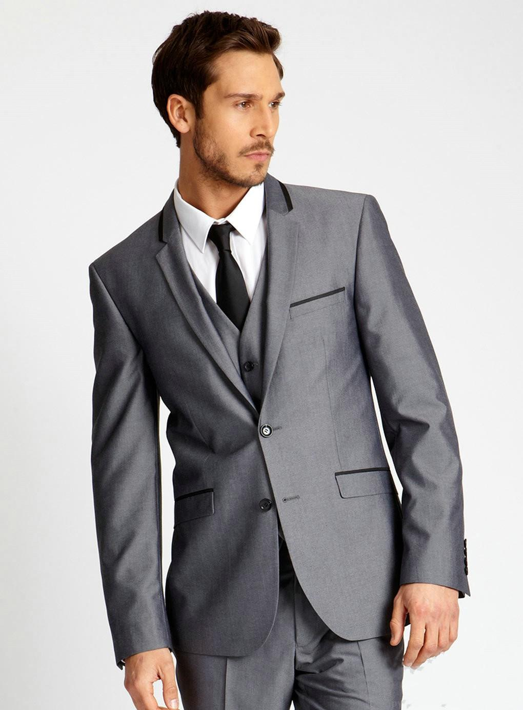 Silver Gray Wedding Suits For Men Notched Lapel Mens Suits Three